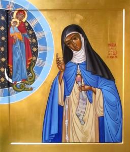 Icono de Sor María de Jesús realizado para el Fórum Internacional de Mariología por el P. Antonio Baù