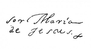 Assinatura de Sor Maria Jesús