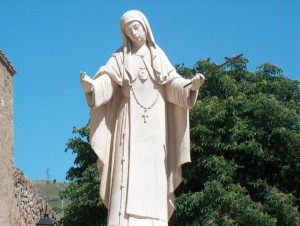 Monument M. Agreda at the main entrance of the Monastery